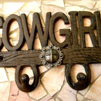 Cowgirl Cross Cast Iron Wall Hook, Western Girls Room Cottage Decor, Cowgirl Custom Christian Baptism Confirmation Gift, Rustic Wall Art