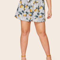 Plus Lemon Print Striped Shorts
