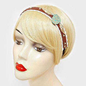 Day Of The Dead Mexican Sugar Skull & Wings Faux Leather Lace Stretch Headband