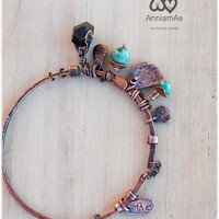 Handmade rustic copper bangle: texturized copper bangle with opal and jasper beads, boho gypsy dangles