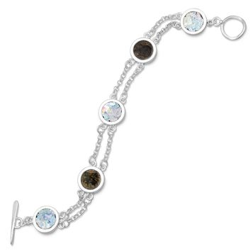 """7.75"""" 2 Strand Toggle Bracelet with Ancient Roman Glass & Antique Roman Coins"""
