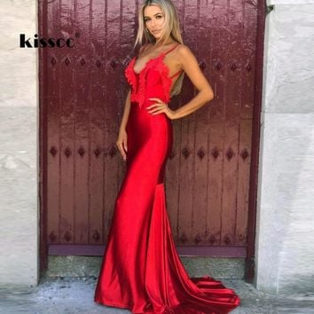 Sexy V Neck Strapless Floral Appliques Red Maxi Dress Floor Length Open Back Sleeveless Mermaid Wedding Party Bodycon Long Dress