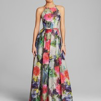 Phoebe by Kay Unger Gown - High Neck Sleeveless Floral Print