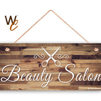 "Beauty Salon Sign, Company Sign, Business Sign, 6""x14"" Sign, Rustic Decor, Salon Door Sign, Made To Order"