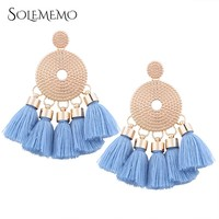 Solememo Vintage Bohemian Tassel Earrings Gold Handmade Fringed Earrings 2017 Bohemian Jewelry Earrings for Women Gifts E1437