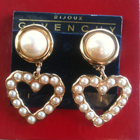 GIVENCHY Massive Heart Pearl Clip Earrings - Never Use on Tag Runway