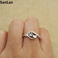 drop shipping Charm Jewelry Small dog and cat paw print antique silver plated heart and Paw Print Ring adjustable rings SanLan