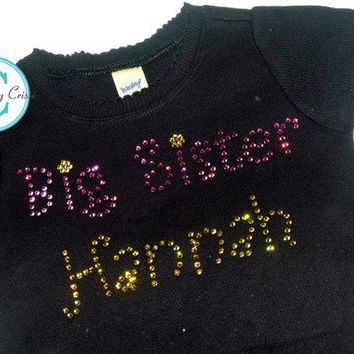 Big Sister Rhinestone Name Shirt for Girls, Personalized Swarovski  Custom for baby, toddler girls Choose your shirt color