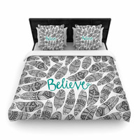 """Pom Graphic Design """"Believe"""" Gray Teal Woven Duvet Cover"""