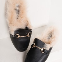 Faux Leather Faux Fur Buckle Loafer Slides in Black PU