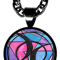 """Bisexual Love 5/8"""" Mini Stainless Steel Black Pendant Necklace"""