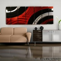 Modern Red, Black and Silver Vibrant Metal Wall Painting - Abstract Contemporary Hand-Painted Home Office Decor Sculpture - Critical Mass by Jon Allen