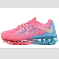 NIKE Trending AirMax Behind the hook section rainbow knited line Fashion Casual Sports Shoes Pink white hook (blue pink soles)