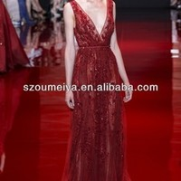 OED243 Sleeveless v neck Elie Saab Red Sequin Dress-in Evening Dresses from Apparel & Accessories on Aliexpress.com