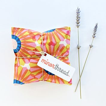 Organic Lavender Pillows in Bold Retro Floral and Linen Drawer Sachets Set of 2