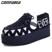 s Lace UP High platm creepers Flat Goth Punk HARAJUKU rivets Black Little Monster Shoes Woman creeper