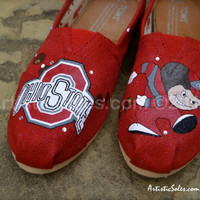 University Custom Painted TOMS Shoes - Ohio State II