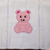Pink Applique Bear Embroidered on a Burp Cloth. It can be personalized for an extra charge.