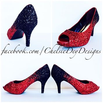 Red Glitter Peep Toe Pumps, Open Toe Ombre Wedding High Heels