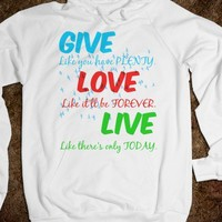GIVE, LOVE, LIVE FLYING BIRDS HOODIE