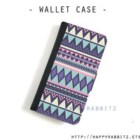 Purple Aztec Geometric iphone 4 wallet case , leather iphone 4s case , iphone 4 flip case , book iphone 4s cover , iphone 5 case