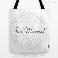 """Wedding CUSTOM """"Just Married"""" Tote Bag Graphic Print White Something Blue Classic Marriage The Big Day Bridal Elegant Carryall Party Bride"""