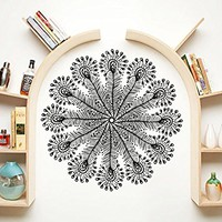 Wall Decal Feathers Fashion Hippie Flower Pattern Wall Vinyl Decals Sticker Home Decor Mural Design Graphic Bedroom (6083)