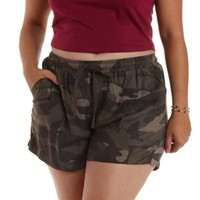 Plus Size Green Combo Camo Print Drawstring Shorts by Charlotte Russe