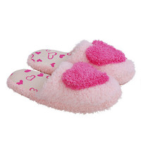 Women Sweet Warm Plush Home Slippers Winter Cute Heart Patterns Slippers Women
