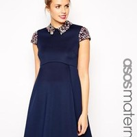 ASOS Maternity | ASOS Maternity Debutante Prom Dress with Embellished Collar and Sleeves at ASOS