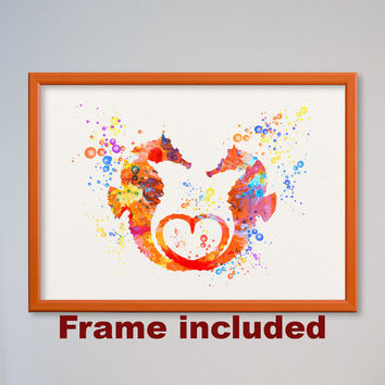 Valentine's Day Gift Seahorses Love Watercolor Print Wedding Poster Gift Illustration Art Watercolor Sea-Horse In Love FRAMED