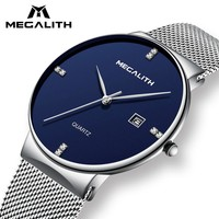 MEGALITH Mens Watches Business Waterproof Stainless Steel Mesh Wrist Watches Gents Sport Simple Design Analogue Watches for Men