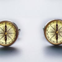 Vintage Compass Cufflinks Silver plated Old Compass Cuff links men and women Accessories Antique