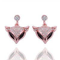 18K Rose Gold Plated Crystal Pave Cute Fox Drop Stud Earrings