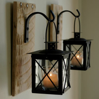 Lantern Pair with wrought iron hooks on recycled wood board for unique wall decor, home decor, bedroom decor