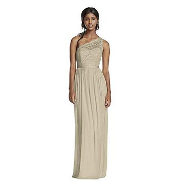 David Bridal Long One Shoulder Lace Bridesmaid Dress Style F17063, Gold Metallic