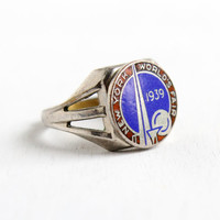 SALE- Vintage Chicago 1939 World's Fair Ring- Art Deco Adjustable Enamel 1930s Silver Tone New York Collectible Jewelry
