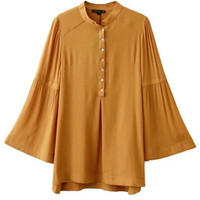 Women's Horn Sleeve Single-breasted Blouse