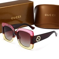Gucci Popular Women Men Casual Sun Shades Eyeglasses Glasses Sunglasses(5-Color) Pink Yellow Gradient I12511-1