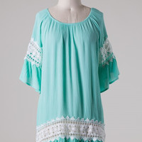 Mint Dress with White Lace Detail