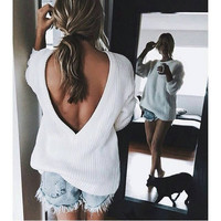 White Round Neck Backless Knit Loose Sweater