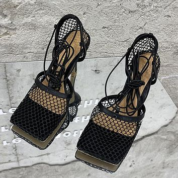 New Fashion Mesh Breathable High Heels Lace Ladies Sandals