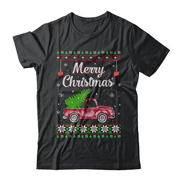 Snow Tree Truck Merry Christmas Ugly Sweater