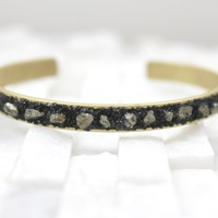Crushed Druzy Cuff black and pyrite narrow