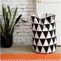 Canvas Laundry Basket Storage Bag With Leather Handles Semicircle Grid Pattern Handbag Baby Kids Toy Clothes Room Decor