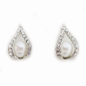 Bridal Pearl Stud Earrings, Pearl Rhinestone Studs, Wedding Drop Earrings