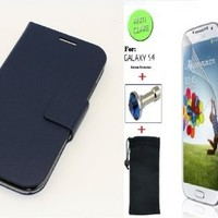 """""""Dark Blue"""" Faux Leather Skin Bracket Flip Case Cover Wallet With Magnetic Closure & KickStand For Samsung Galaxy S4 (INCLUDED: MATTE, ANTI-GLARE FRONT SCREEN PROTECTOR + DIAMOND EARPHONE DUST PLUG + PHONE DUST BAG POUCH)"""