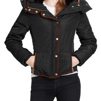 LE3NO Womens Quilted Slim Fit Puffer Hoodie Jacket with Faux Fur (CLEARANCE)