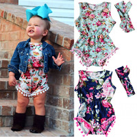 2 PCS HOT Sale Newborn Toddler sleeveless Baby Girls Floral Romper Jumpsuit Sunsuit Clothes Set