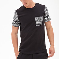 Tribal Print Pocket Tee Black/Cream